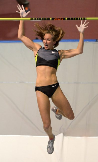 Mar 2, 2013; Albuquerque, NM, USA; Kylie Hutson celebrates after a clearance in the womens pole vault in the 2013 USA Indoor Track & Field Championships at the Albuquerque Convention Center. Hutson finished second at 15-7 (4.75m).