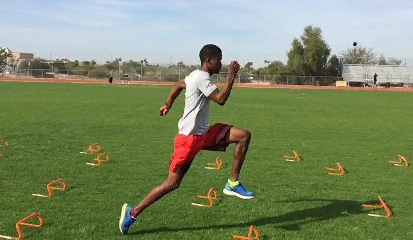 """The wicket drill is used to promote a vertical step-down - as demonstrated here by Olympic 200m finalist Anaso Jobodwana"""