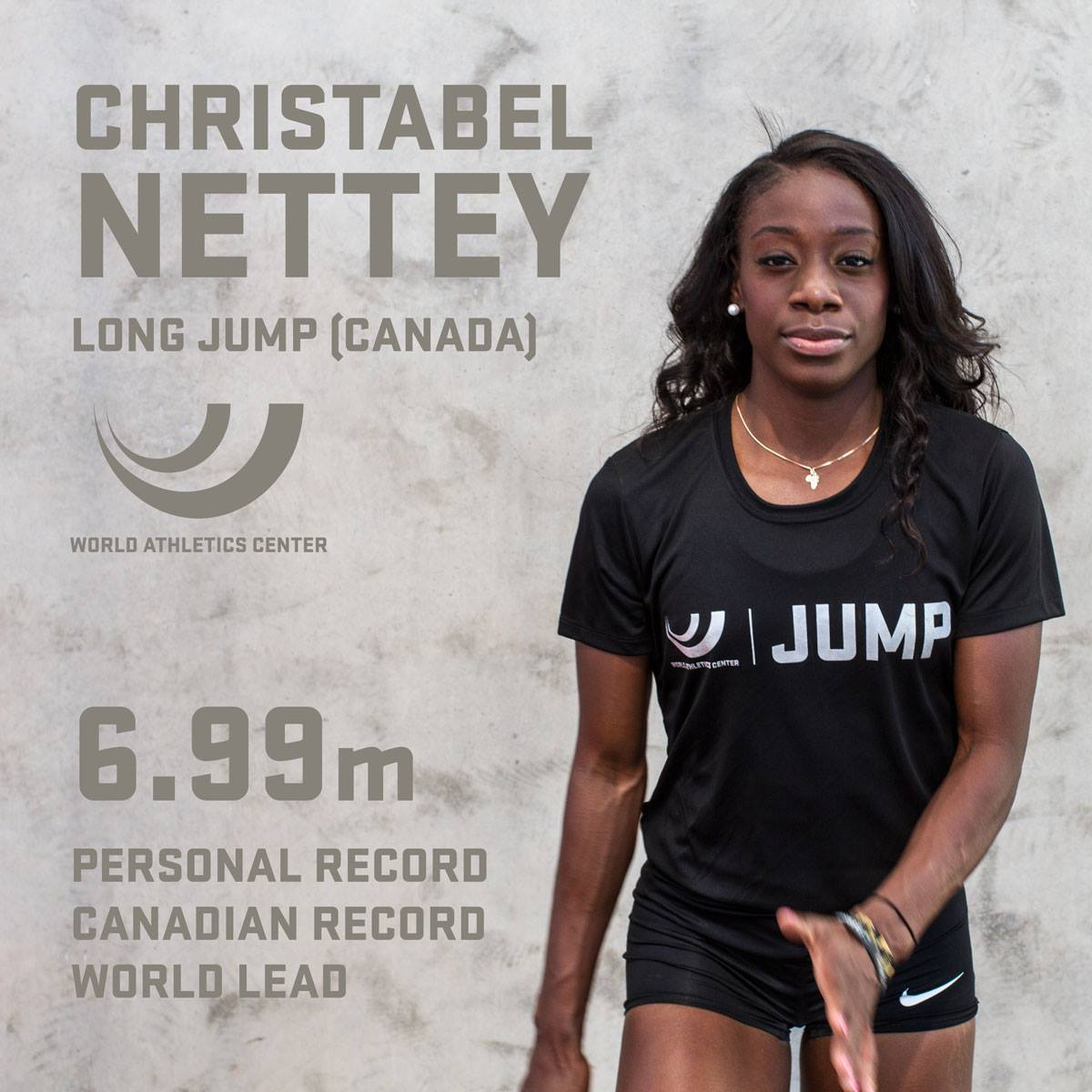 Christabel Nettey soared to a mark of 6.93m at the Doha Diamond League.