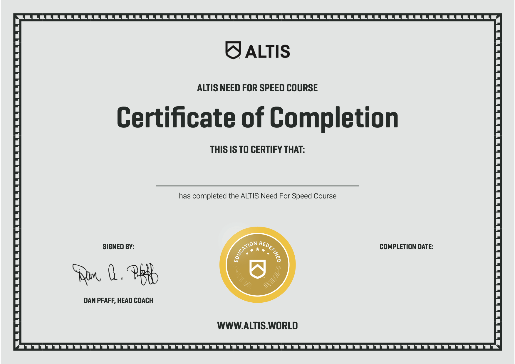 ALTIS Certificate - Need For Speed