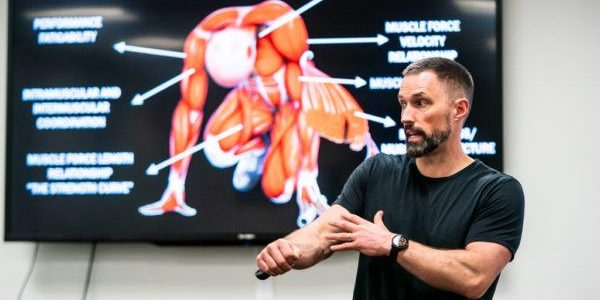 Dr. Matt Jordan presents during the Strength and Power Performance Course at CSI Calgary in Calgary, AB, on May 6, 2019.