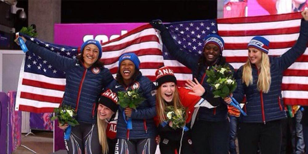 Kaille Humphries & Heather Moyse celebrate their Gold Medal Performance at Sochi